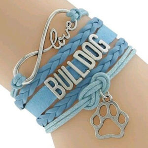 "Jewelry - Blue Bracelet ""Bull Dog"" Love Charm"